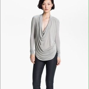 HELMUT Gray Kinetic Cowl Neck Jersey Top