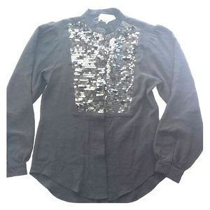 Sparkle & Fade Tops - SOLD Black Festive Sequin Top