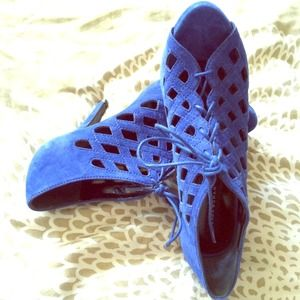 Zara Blue Suede Intricate Strappy Lace-Up Pumps