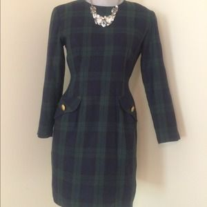 Chic plaid vintage dress with gold button hardware