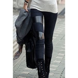 faux leather patch leggings