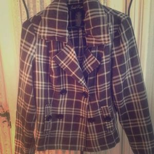 Outerwear - Black and White Plaid Coat
