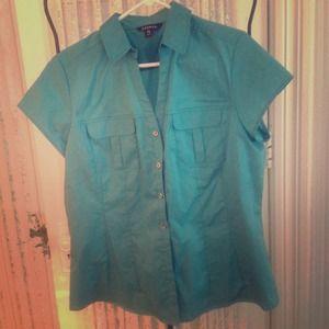 Tops - Aqua short sleeve shirt