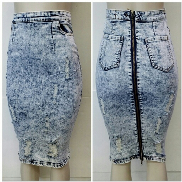 38% off Dresses & Skirts - Destroyed DENIM Skirt with Back Zipper ...