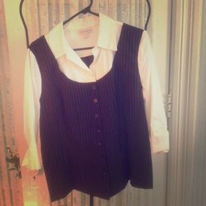 Tops - White and black shirt with vest
