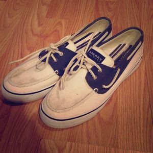 Navy and white sperrys