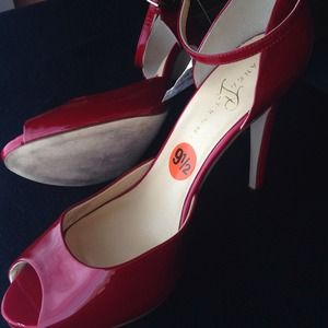 741440bafc2 Ivanka Trump Shoes - Red patent leather peep toe ankle strap heels