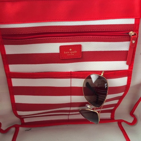 kate spade Bags - Kate spade striped nautical tote bag!