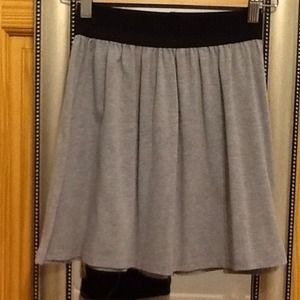 Gray skater skirt with black elastic at waist