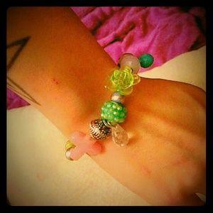 Jewelry - SALE Custom Created Pink Cross & Bauble Bracelet
