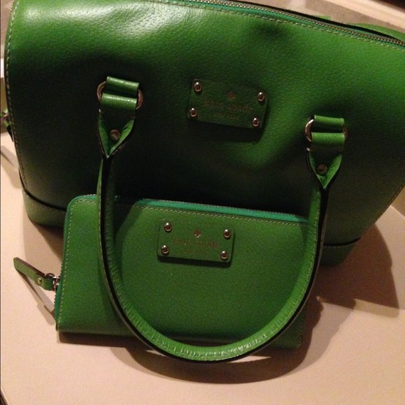 1d3cfc3177d7 kate spade Handbags - Kate Spade Green Leather Bag   matching wallet