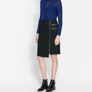 Black Zara sheath skirt with side zips
