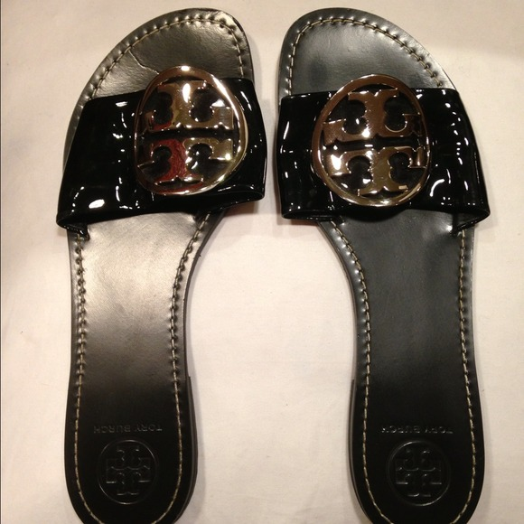 86c43596208b4 Tory Burch Grania Black Patent Slides. M 535ef2894c47c005e40022d6