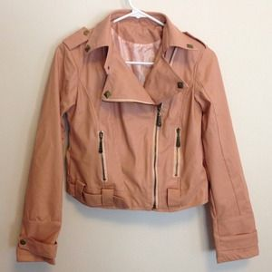Jackets & Blazers - - pink vegan leather jacket -