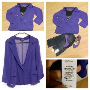  Purple sheer blazer 