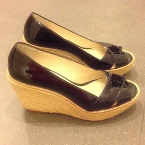 MICHAEL KORS wedge shoes black patent 7.5 M