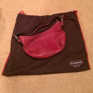Red Leather Coach Hobo Bag