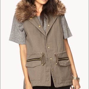 //HOLD// F21 olive green chic utility vest