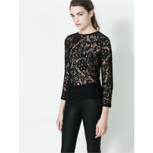Zara Tops Black Crochet Long Sleeve Top Size M Poshmark