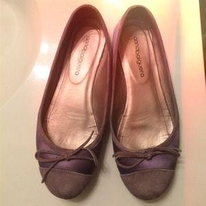 Anna Baiguera Shoes - Anna Baiguera Purple Silk and Suede Ballet Flats