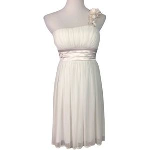 Ivory One-Shoulder Homecoming Dress