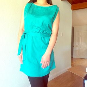 Tops - Teal/jade tunic with cinched waisted tie