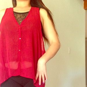 Tops - Wine red cropped vest top with lace lining