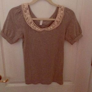 Lacey Peter Pan collared top in grey