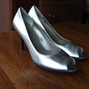 Cole Haan metallic peep toe pumps