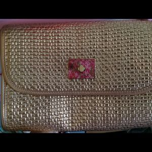 Gold lilly pulitzer clutch