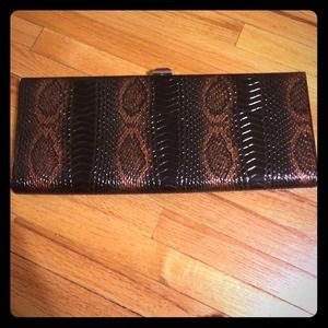 Faux snake skin long clutch