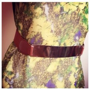 Accessories - SALE Faux Brown Leather + Gold Metal Plate Belt