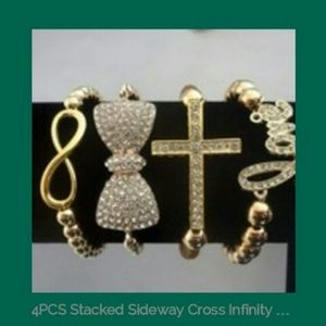 4 PC S Sideways Cross Infinity Gold Love Bracelet