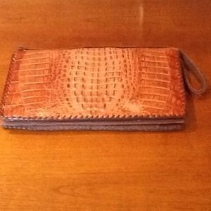 Vintage Genuine Alligator Clutch Bag Purse FAB!