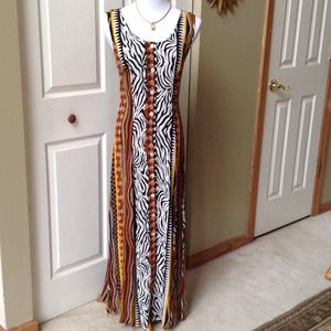 Brown Multi Animal Print Maxi Dress