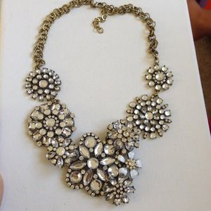 Crystal lattice flowers statement necklace