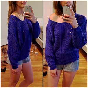 Alternative Apparel Sweaters - Alternative apparel knit sweater off shoulder blue