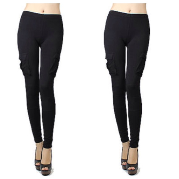 great discount latest discount pretty nice Black Cargo Leggings + Side Pockets