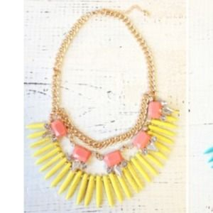 Yellow and peach fringe statement necklace