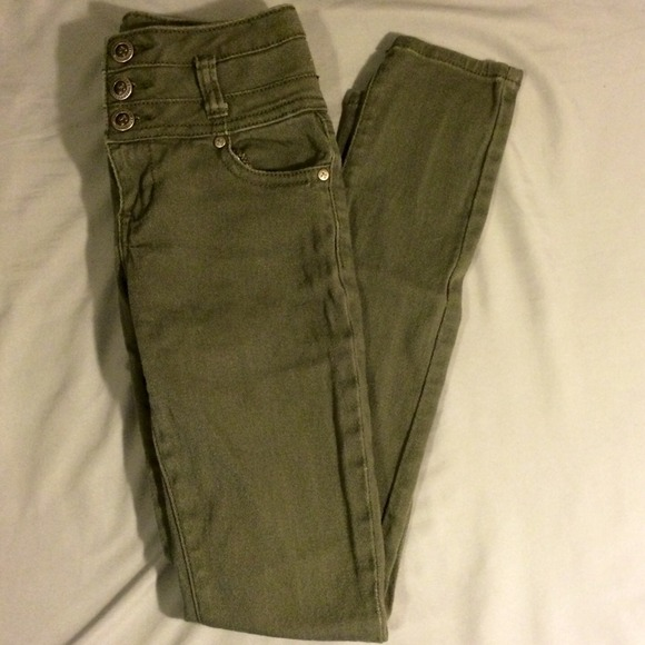 Olive green high waisted jeans 3/4 from Jodi's closet on Poshmark