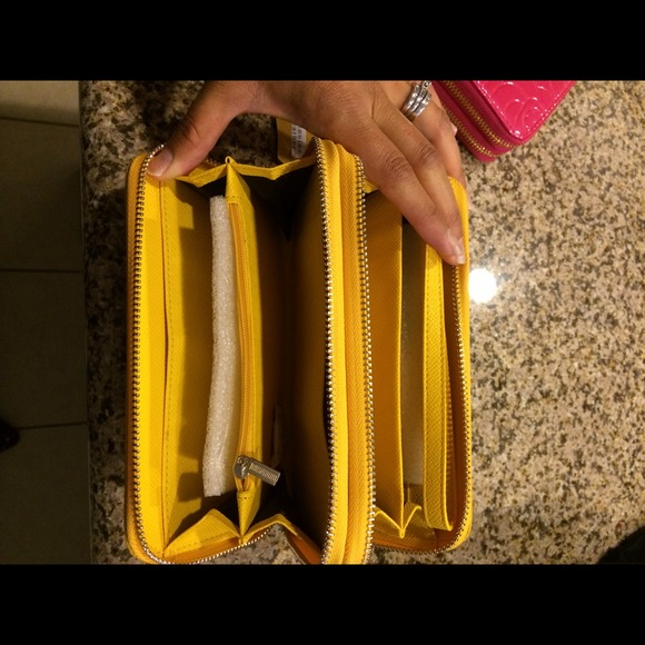 Clutches & Wallets - Yellow double zipper wallet 3