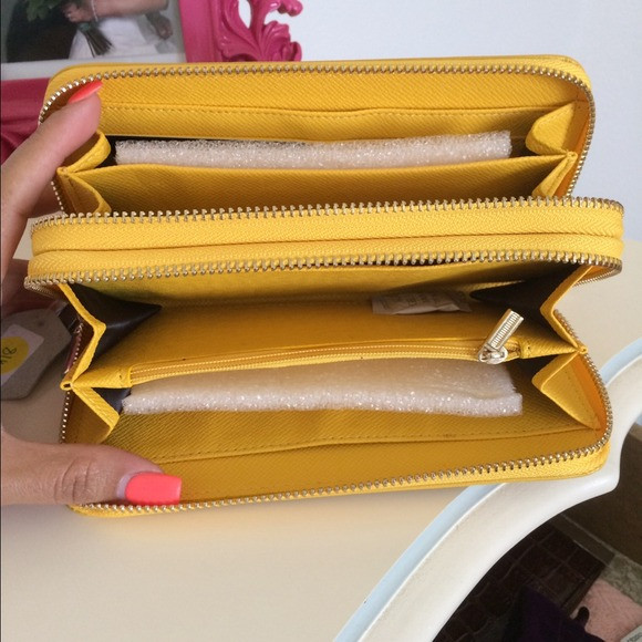Bags - Yellow double zipper wallet