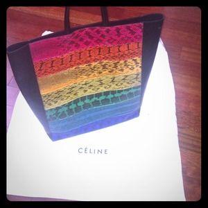 celine pink exotic leathers handbag cabas