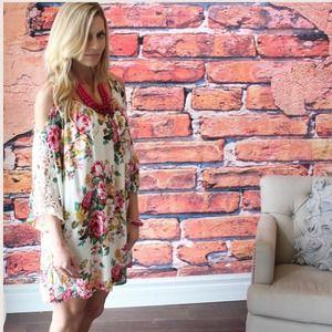Dresses & Skirts - Floral Crochet Arm Off the Shoulder Dress