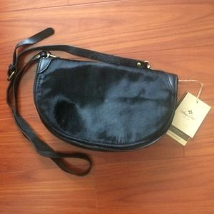 Hair calf leather messenger bag! Real deal!