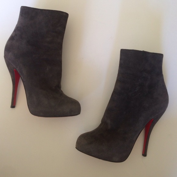 best service 2639c d127b Christian louboutin grey suede booties