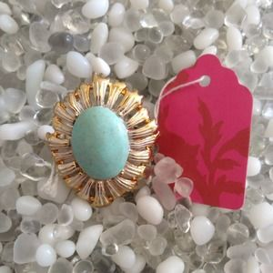 Accessories - Turquoise and Gold Statement Ring