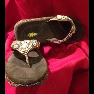 Hearts, Turquoise & Sparkle -Volatile Sandals