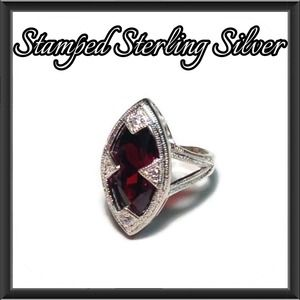 Sterling Silver Red Marquise Cut Ring