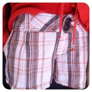 Great Summer Shorts in Orange and Brown Plaid